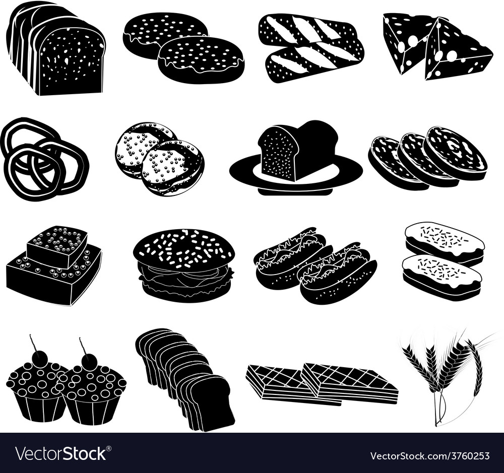 Bakery food icons set vector | Price: 1 Credit (USD $1)