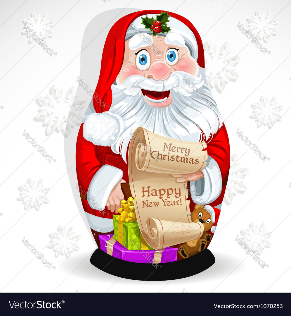 Doll matrioshka santa claus with gifts vector | Price: 5 Credit (USD $5)
