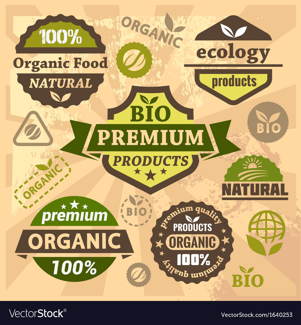 Ecology and bio labels vector   Price: 1 Credit (USD $1)