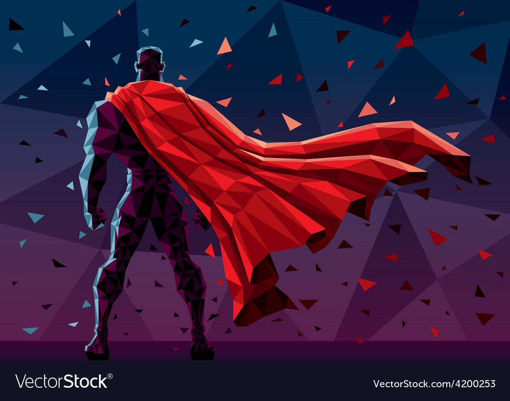 Low poly superhero vector