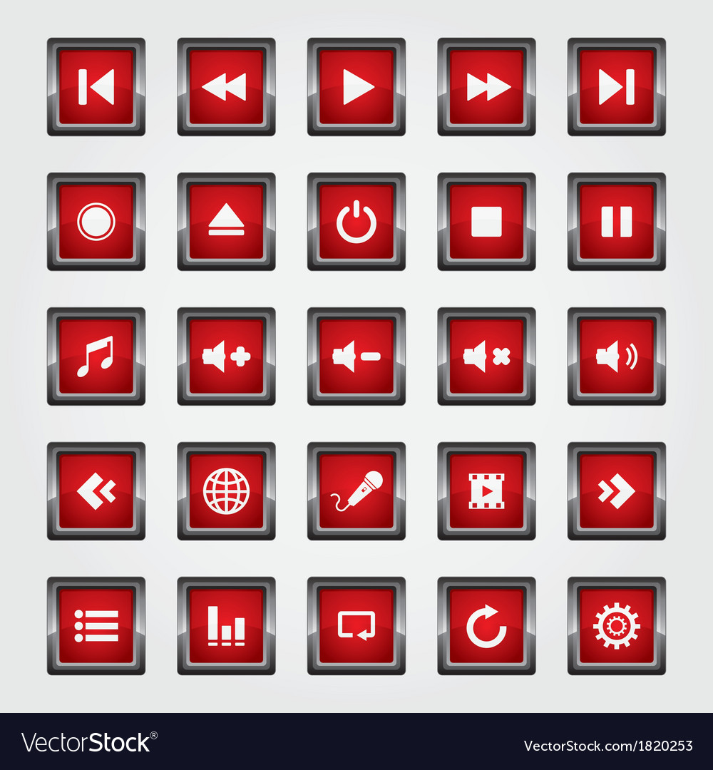 Media button red vector | Price: 1 Credit (USD $1)