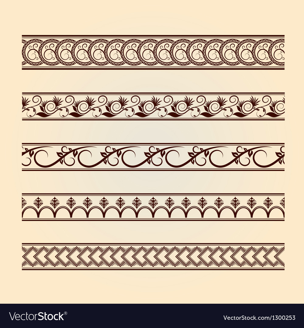 Set of classic floral lines vintage collection vector | Price: 1 Credit (USD $1)