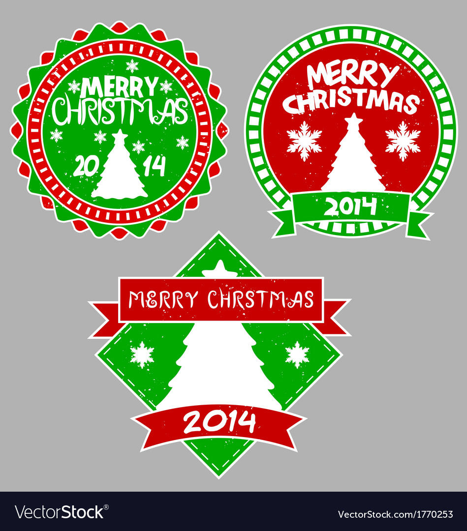Tree xmas badges vector | Price: 1 Credit (USD $1)