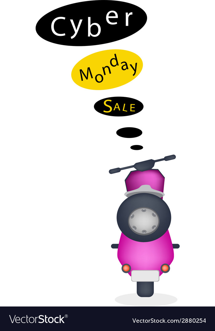 A motorbike with cyber monday sale banner vector | Price: 1 Credit (USD $1)