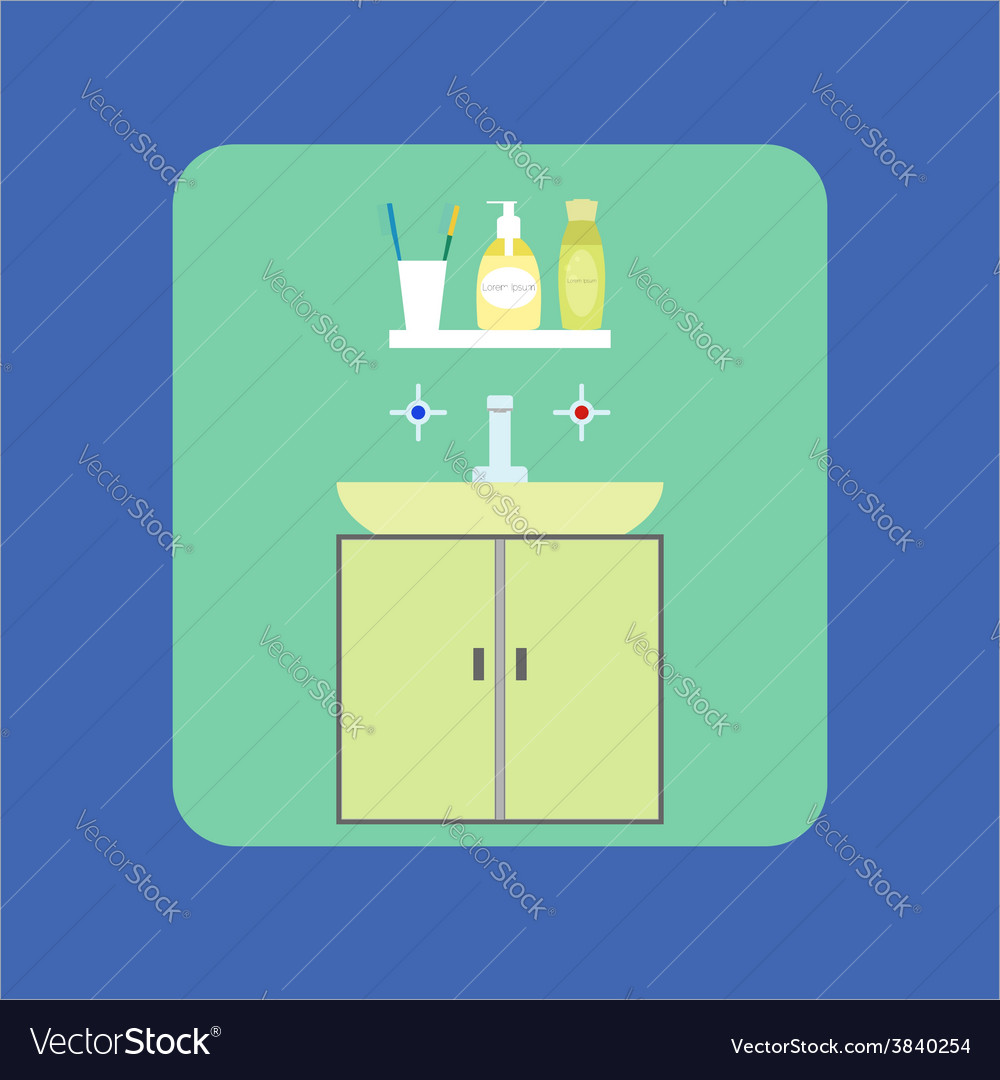 Bathroom interior icon washbasin soap shower gel vector | Price: 1 Credit (USD $1)