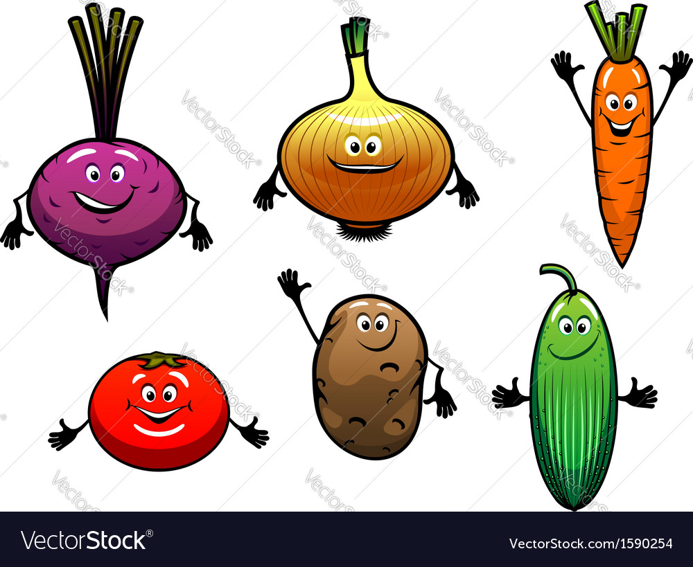 Beet onion carrot tomato potato and cucumber vector | Price: 1 Credit (USD $1)