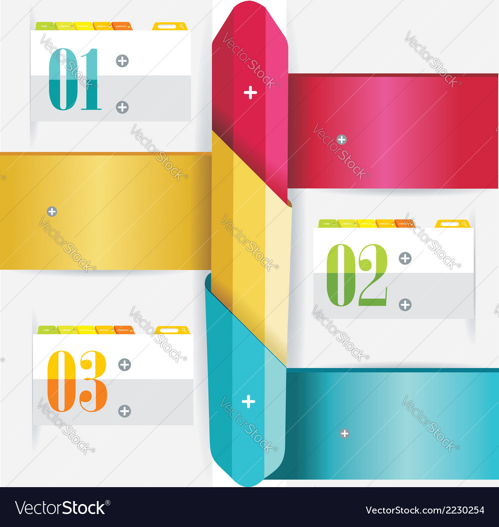 Business design template with color ribbon banners vector | Price: 1 Credit (USD $1)