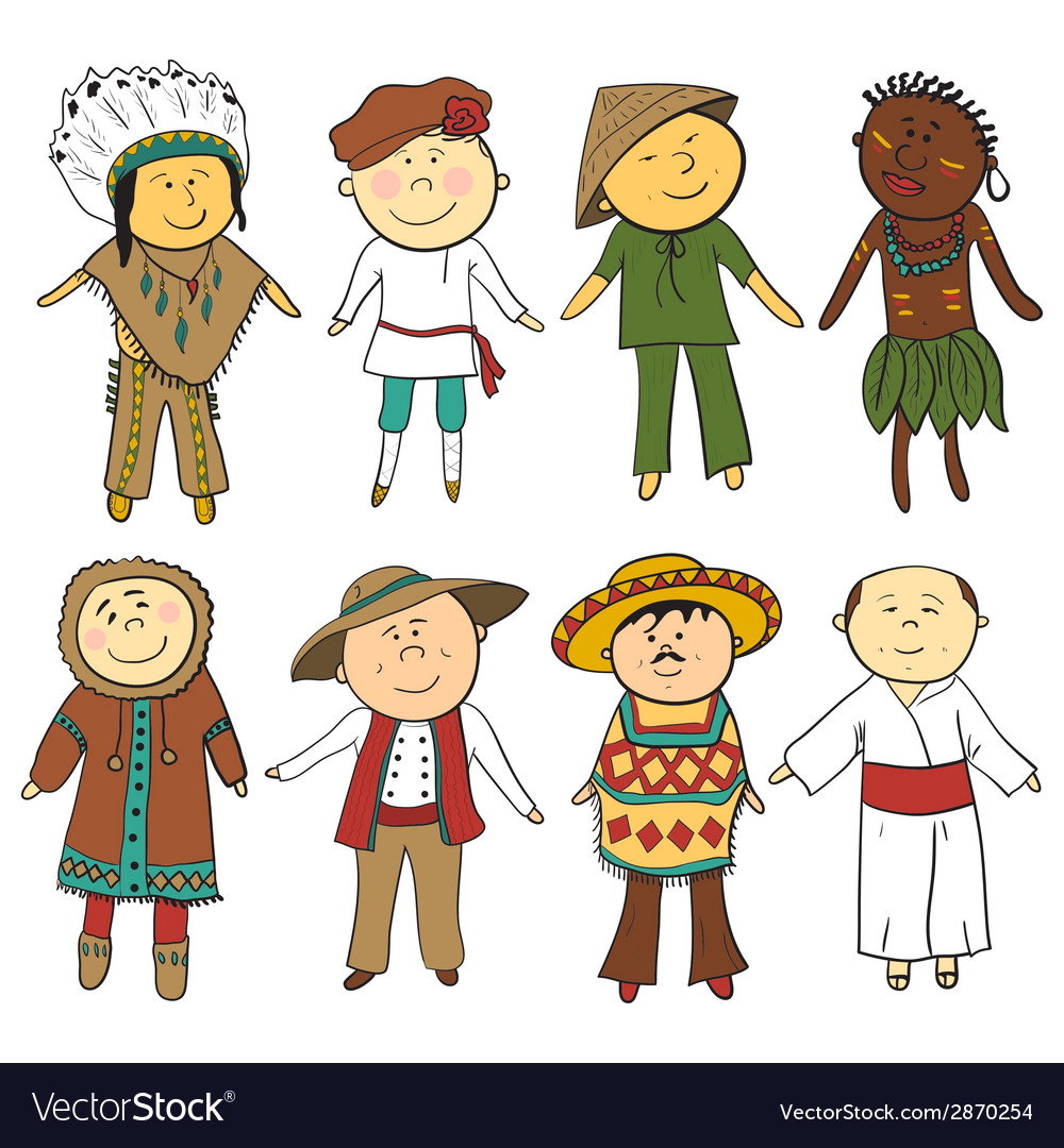 Cartoon kids in different traditional costumes vector | Price: 1 Credit (USD $1)