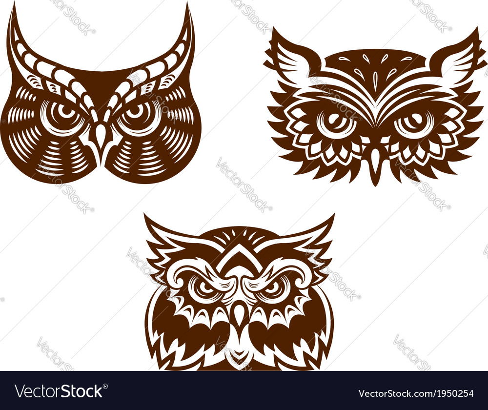 Collection of wise old owl faces vector | Price: 1 Credit (USD $1)