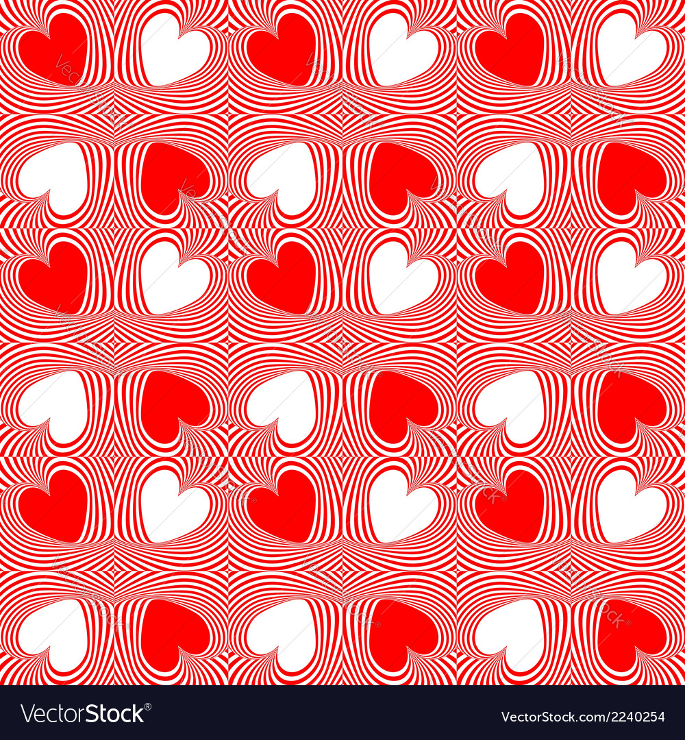 Design seamless twirl stripy heart pattern vector | Price: 1 Credit (USD $1)
