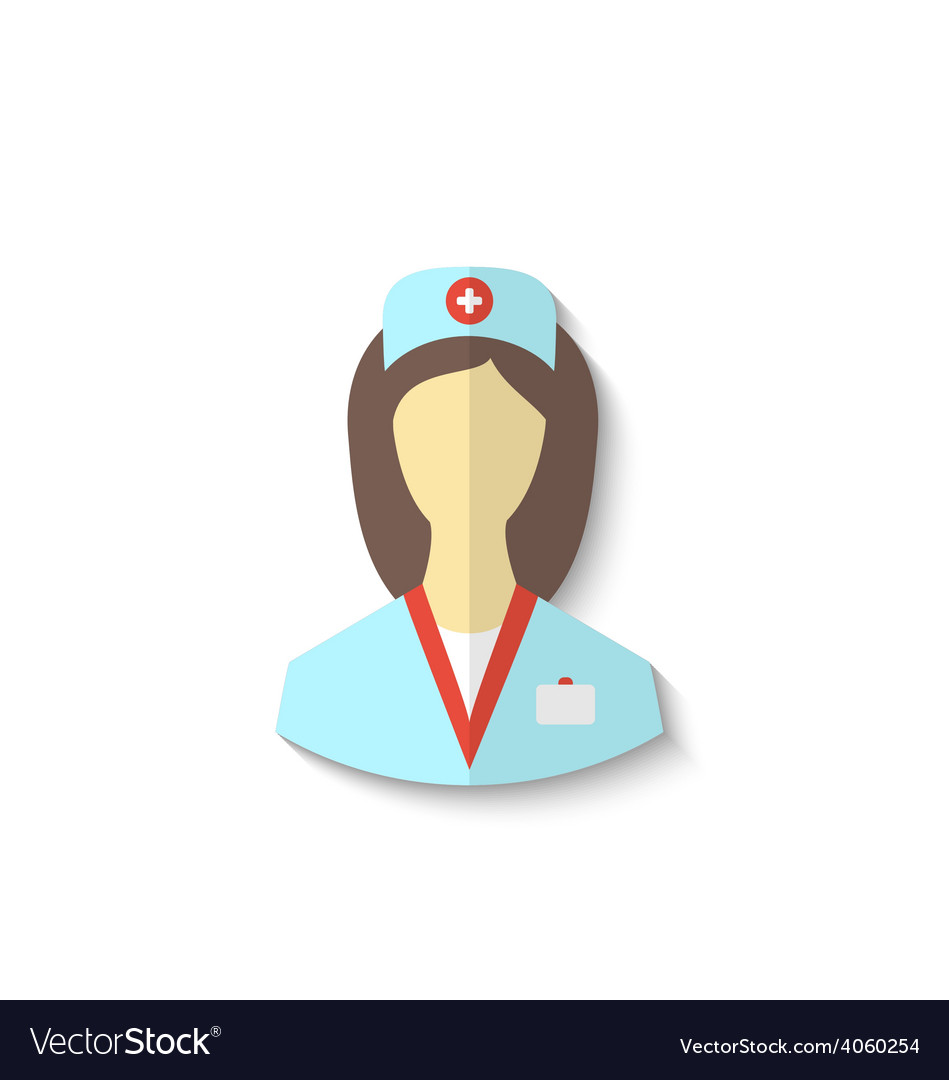 Flat icon of medical nurse with shadow isolated on vector | Price: 1 Credit (USD $1)