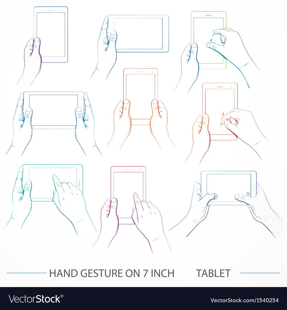 Hand holding 7inch tablet set vector | Price: 1 Credit (USD $1)