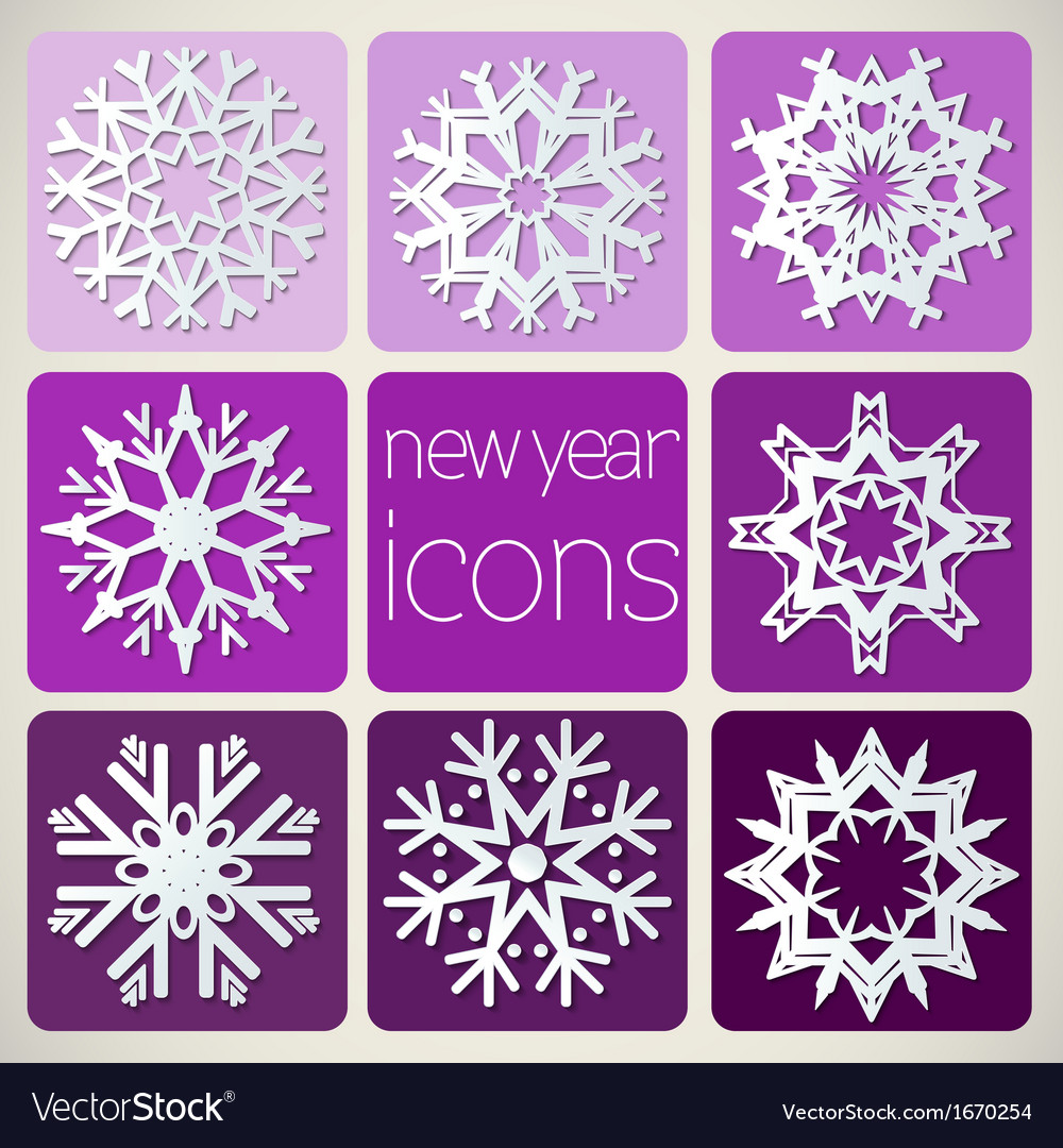 New year icons set with snowflakes vector | Price: 1 Credit (USD $1)