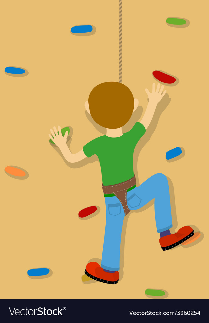 Rock climber boy vector | Price: 1 Credit (USD $1)
