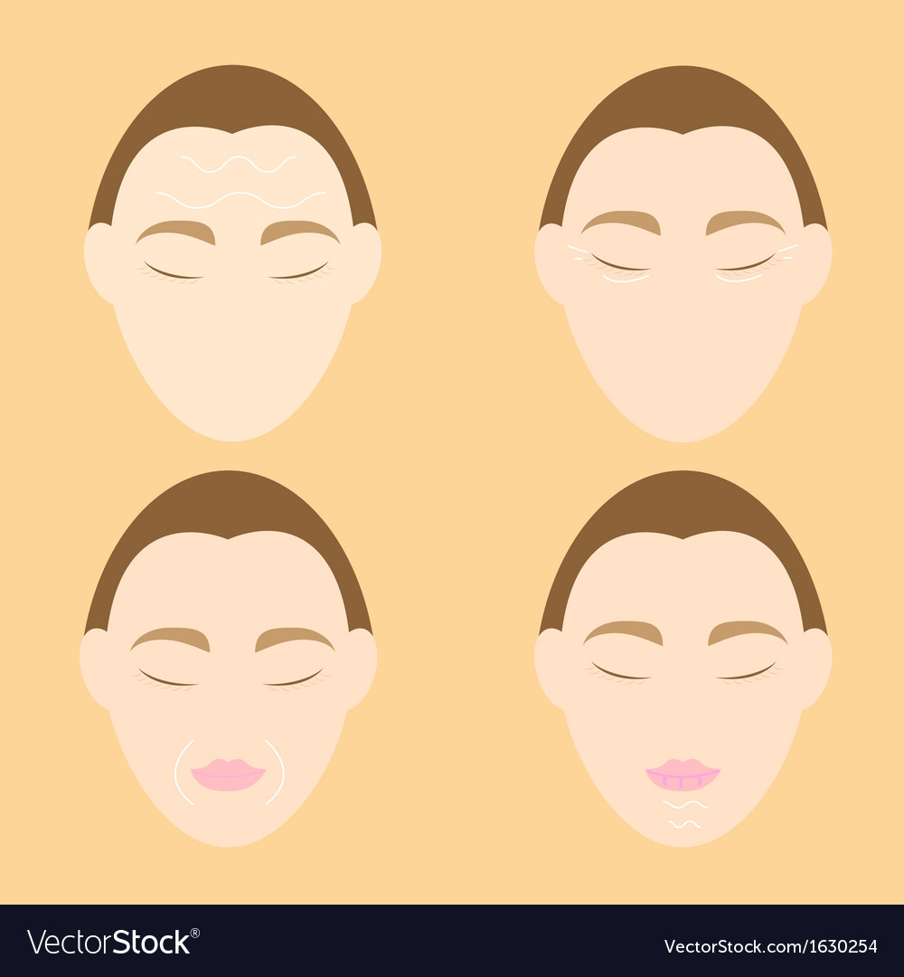 Woman face wrinkle problems on orange background vector | Price: 1 Credit (USD $1)