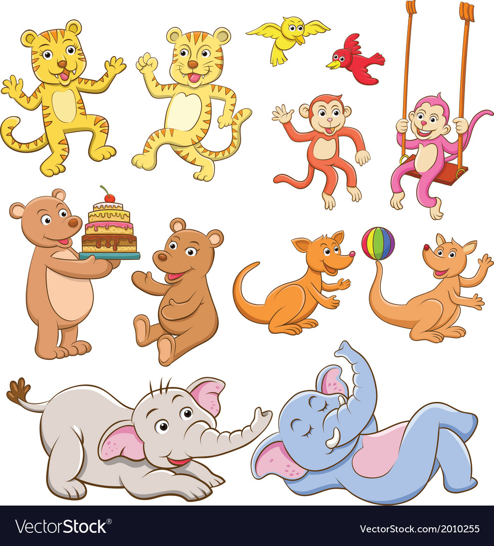 Animal cartoon set vector   Price: 1 Credit (USD $1)