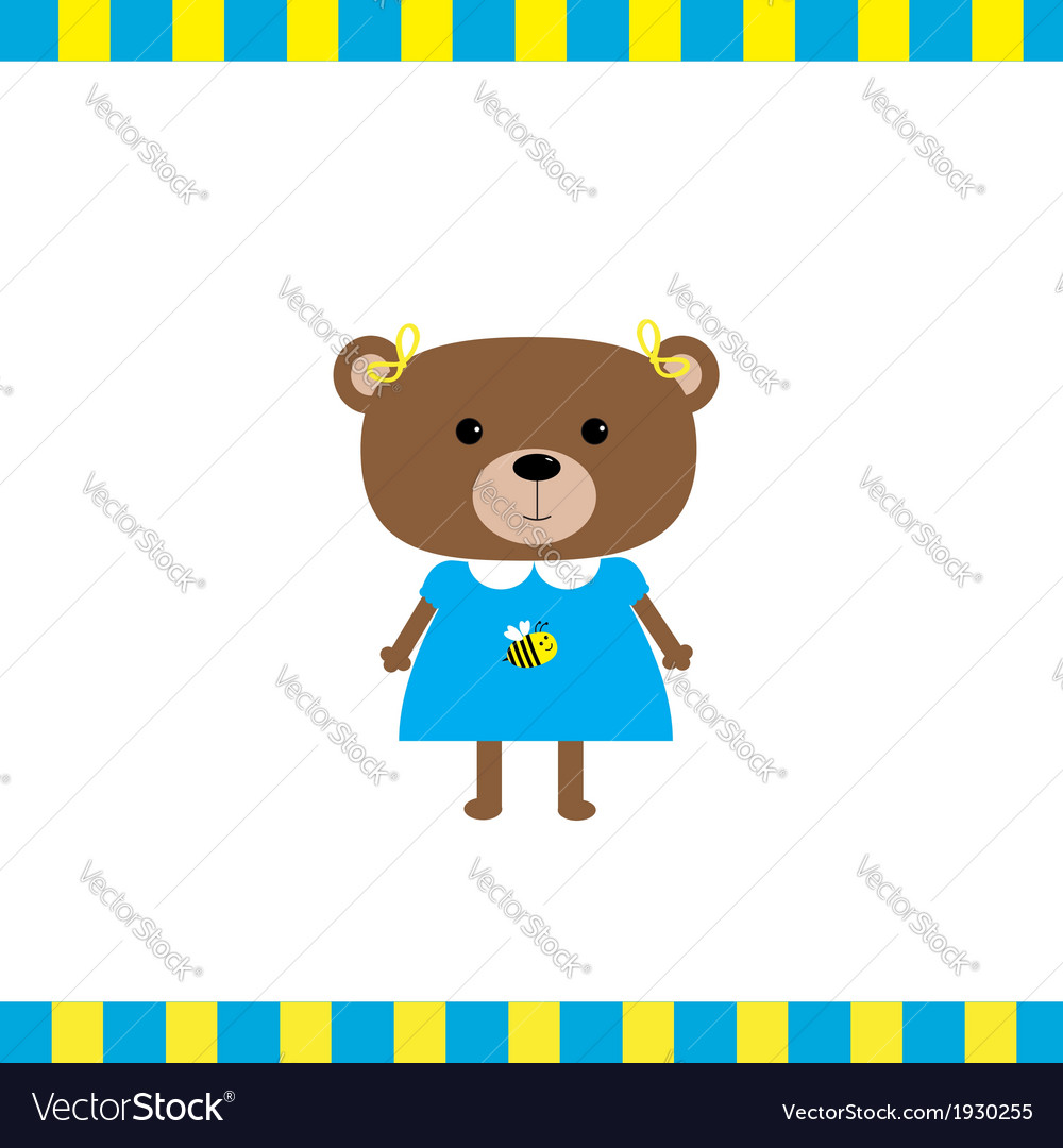 Cartoon bear girl card vector | Price: 1 Credit (USD $1)