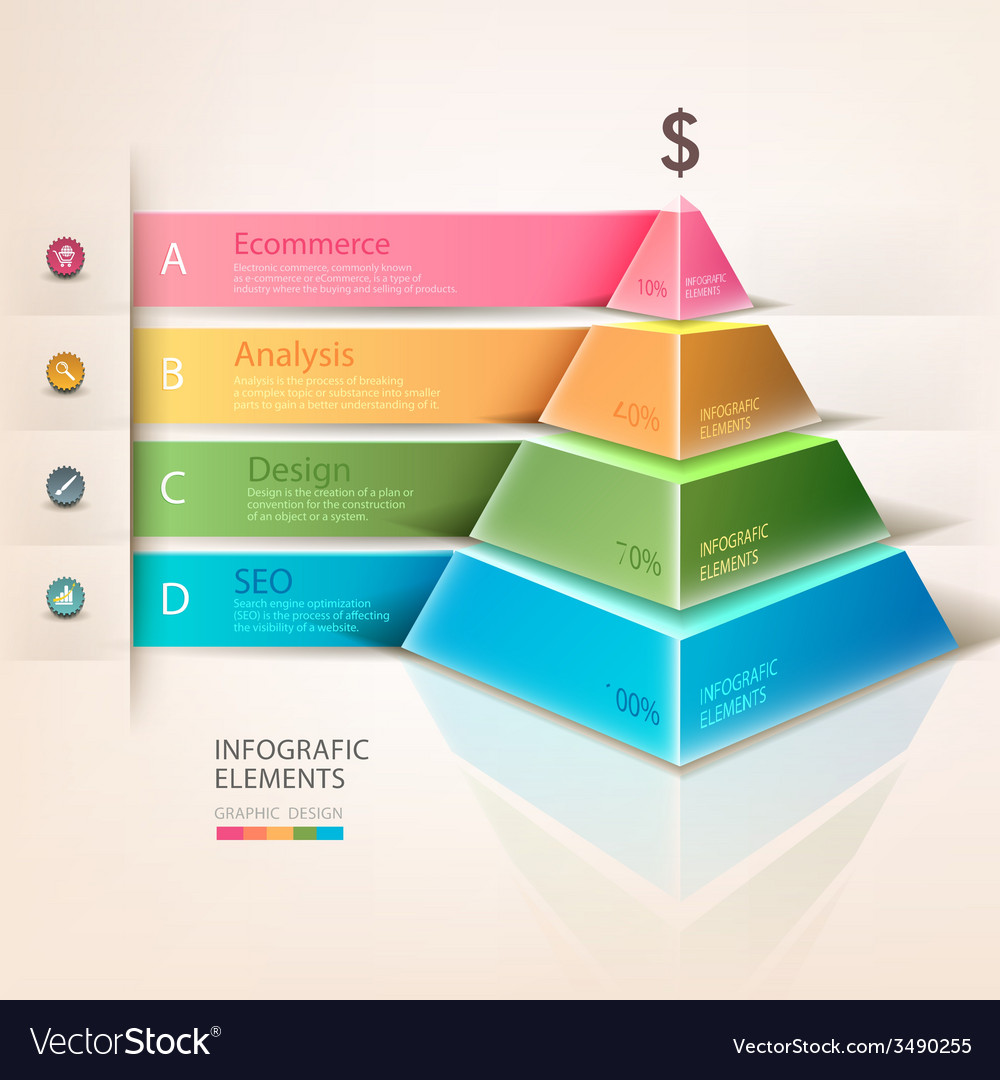 Colored pyramid info graphics vector | Price: 1 Credit (USD $1)