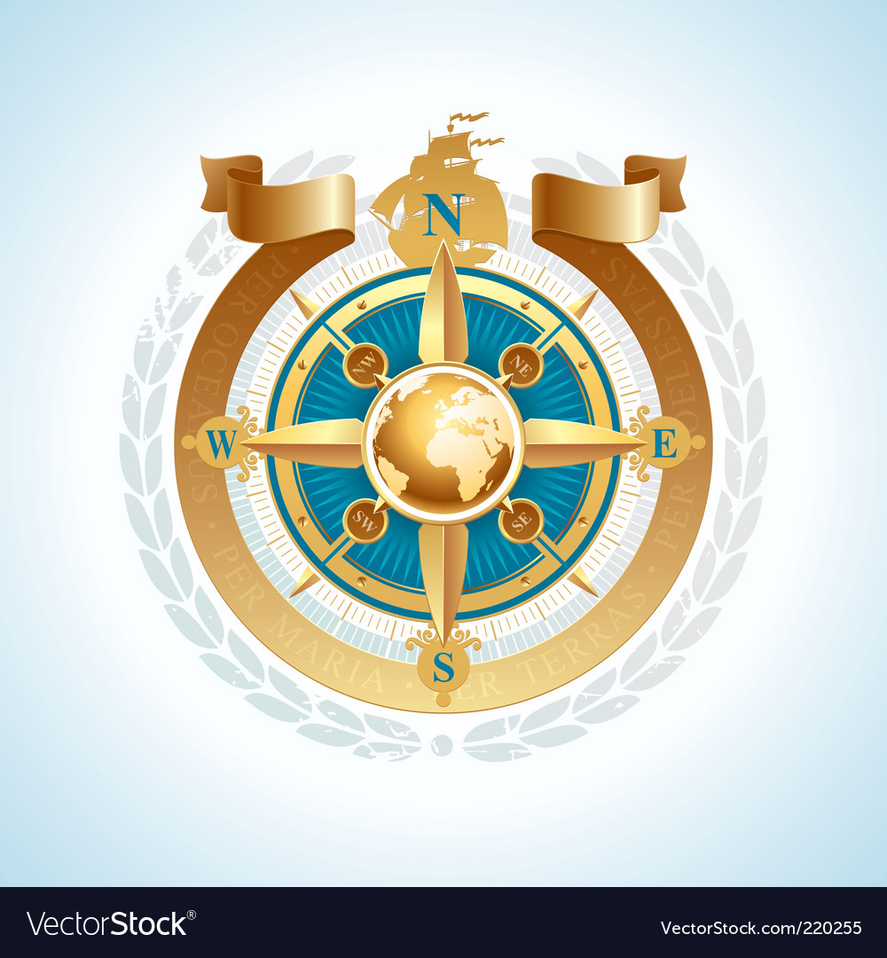Compass with globe and ribbon vector | Price: 1 Credit (USD $1)