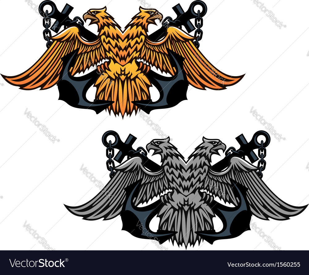 Double head eagle with vintage anchor vector | Price: 1 Credit (USD $1)