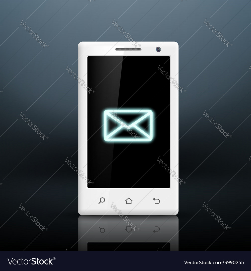 Envelope icon on the screen of your smartphone vector | Price: 1 Credit (USD $1)