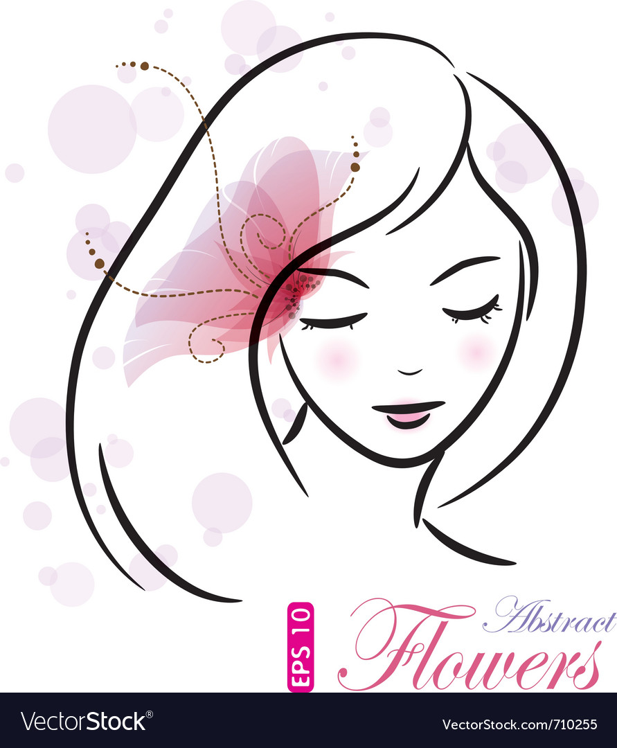 Girl with pink flower vector | Price: 1 Credit (USD $1)