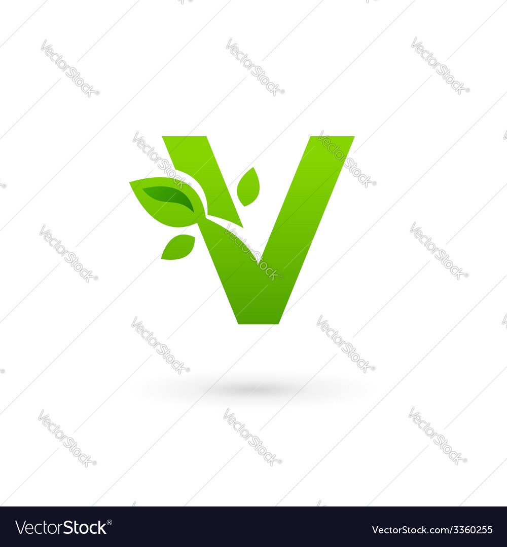 Letter v eco leaves logo icon design template vector | Price: 1 Credit (USD $1)