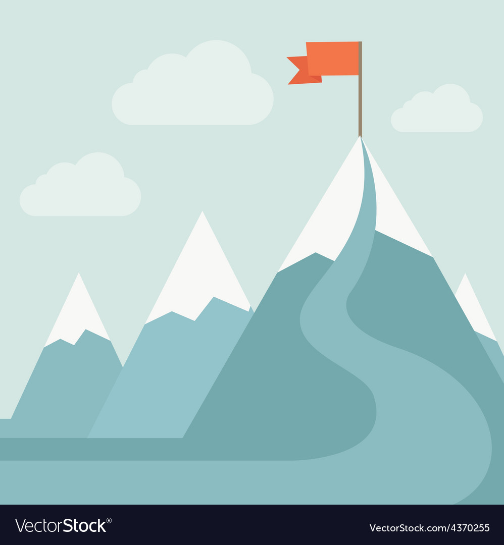 Mountain with red flag vector | Price: 1 Credit (USD $1)