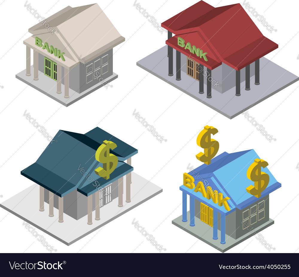 Set bank isometric building vector   Price: 1 Credit (USD $1)