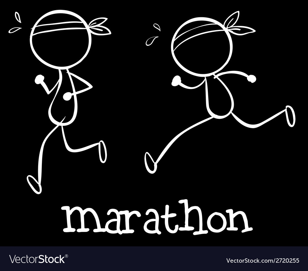Simple marathon doodle vector | Price: 1 Credit (USD $1)