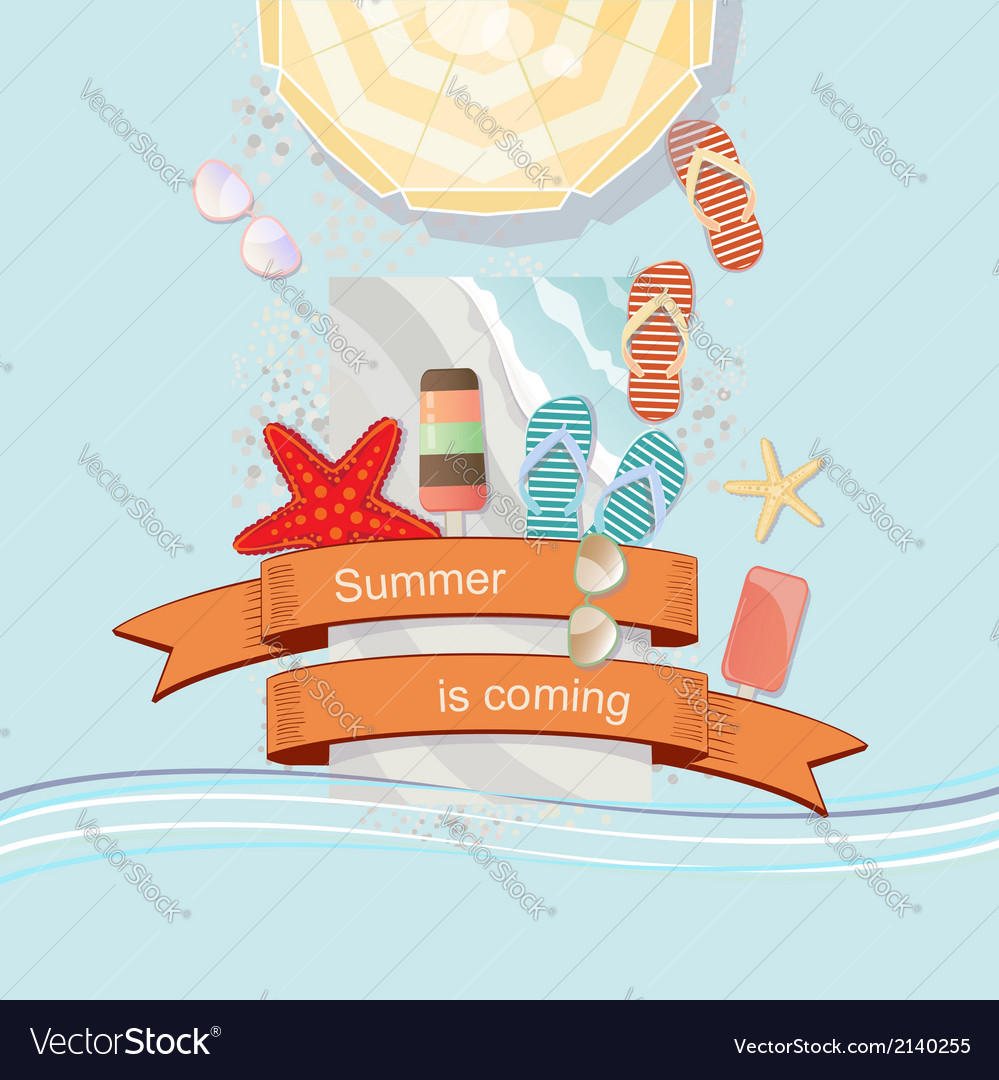 Summer is coming poster or card design vector | Price: 1 Credit (USD $1)