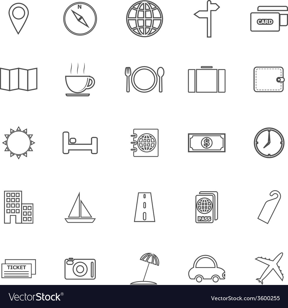 Travel line icons on white background vector | Price: 1 Credit (USD $1)