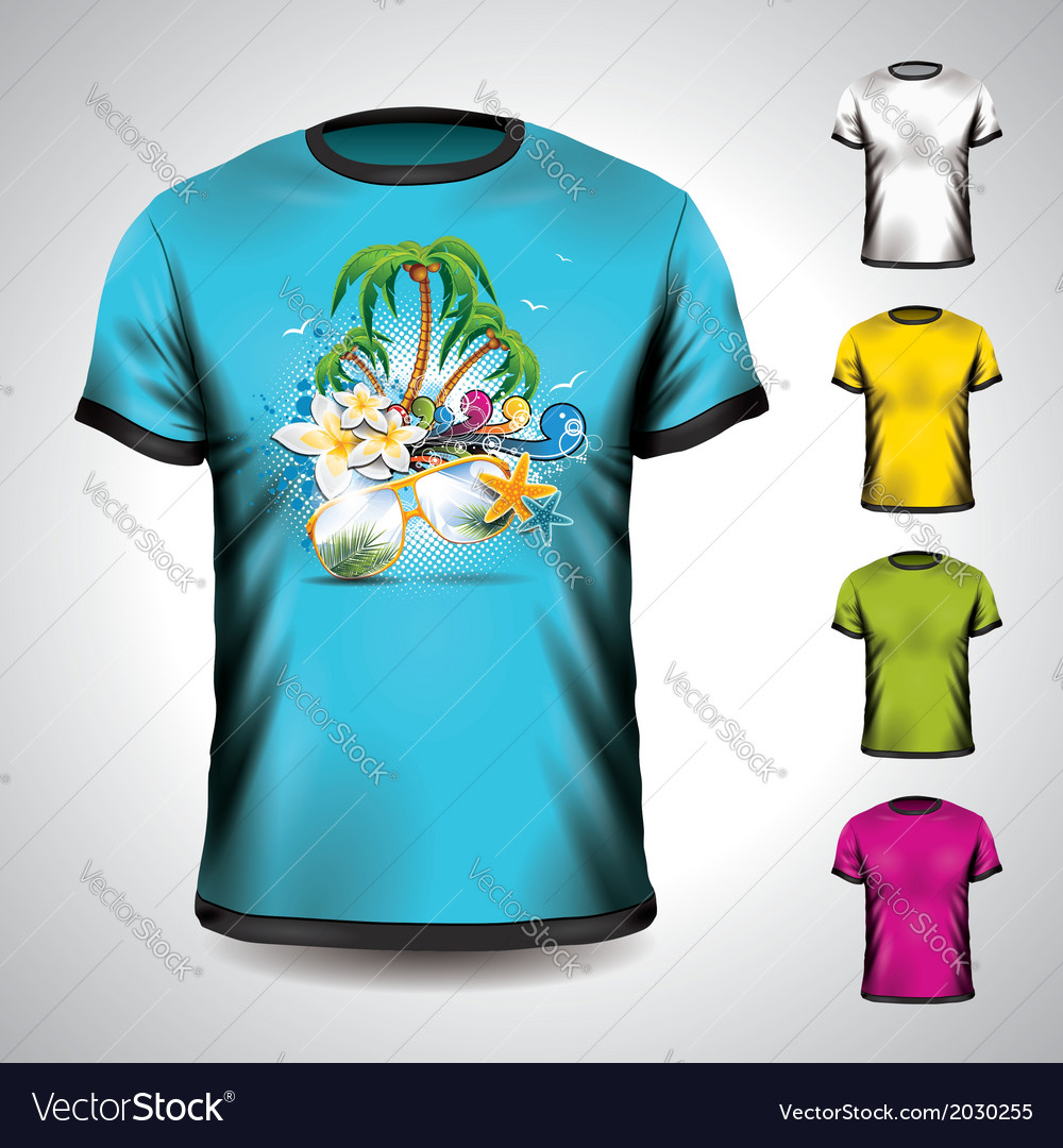 T-shirt set on a summer holiday theme vector | Price: 1 Credit (USD $1)