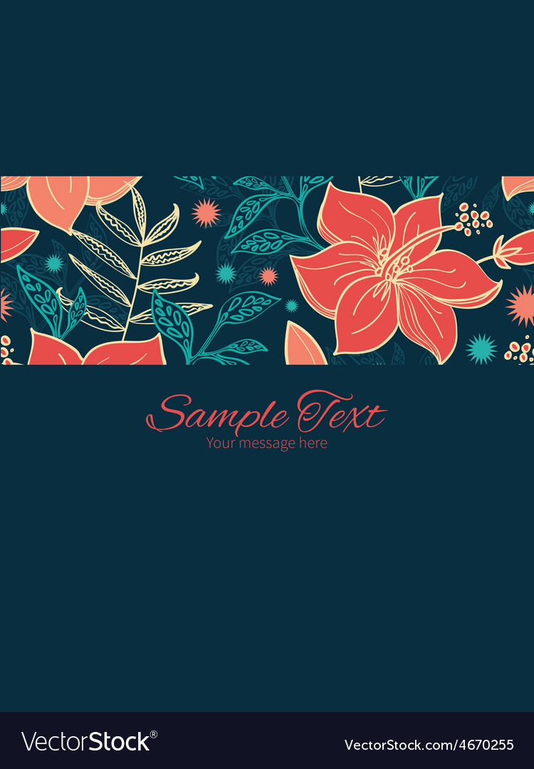 Vibrant tropical hibiscus flowers stripe vector | Price: 1 Credit (USD $1)
