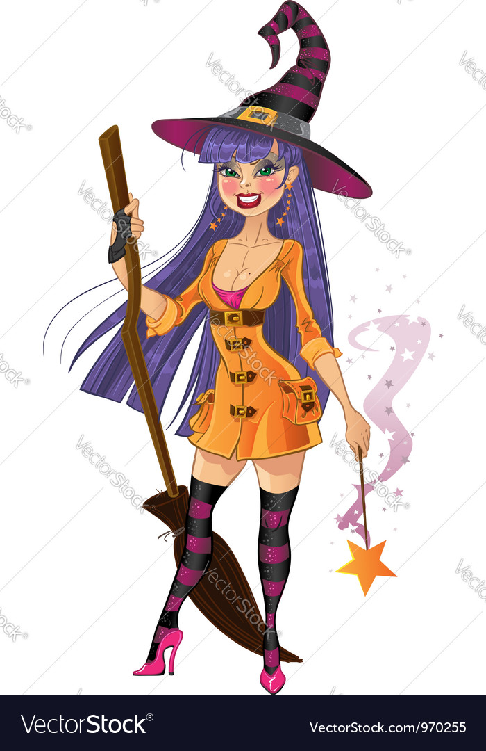Young witch with magic wand and broom vector | Price: 3 Credit (USD $3)