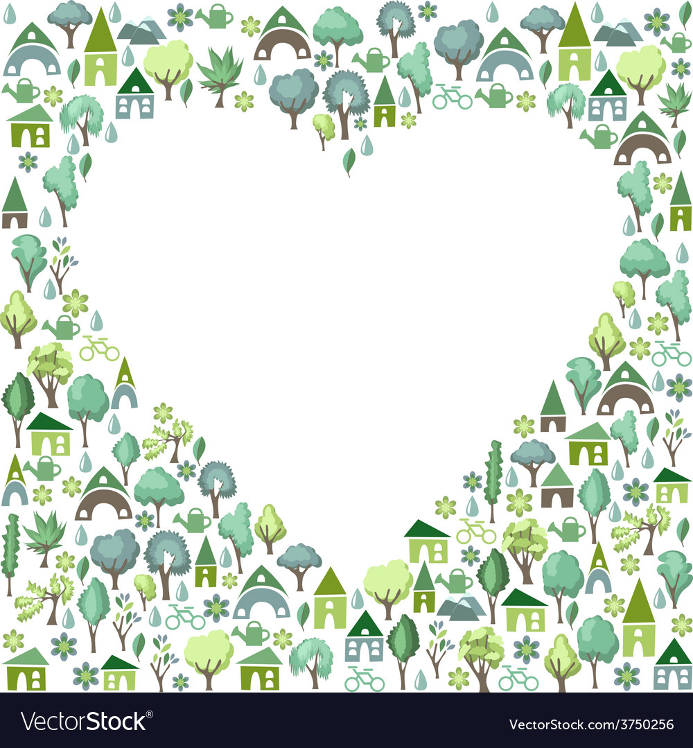 Blank heart made of trees and country houses vector | Price: 1 Credit (USD $1)