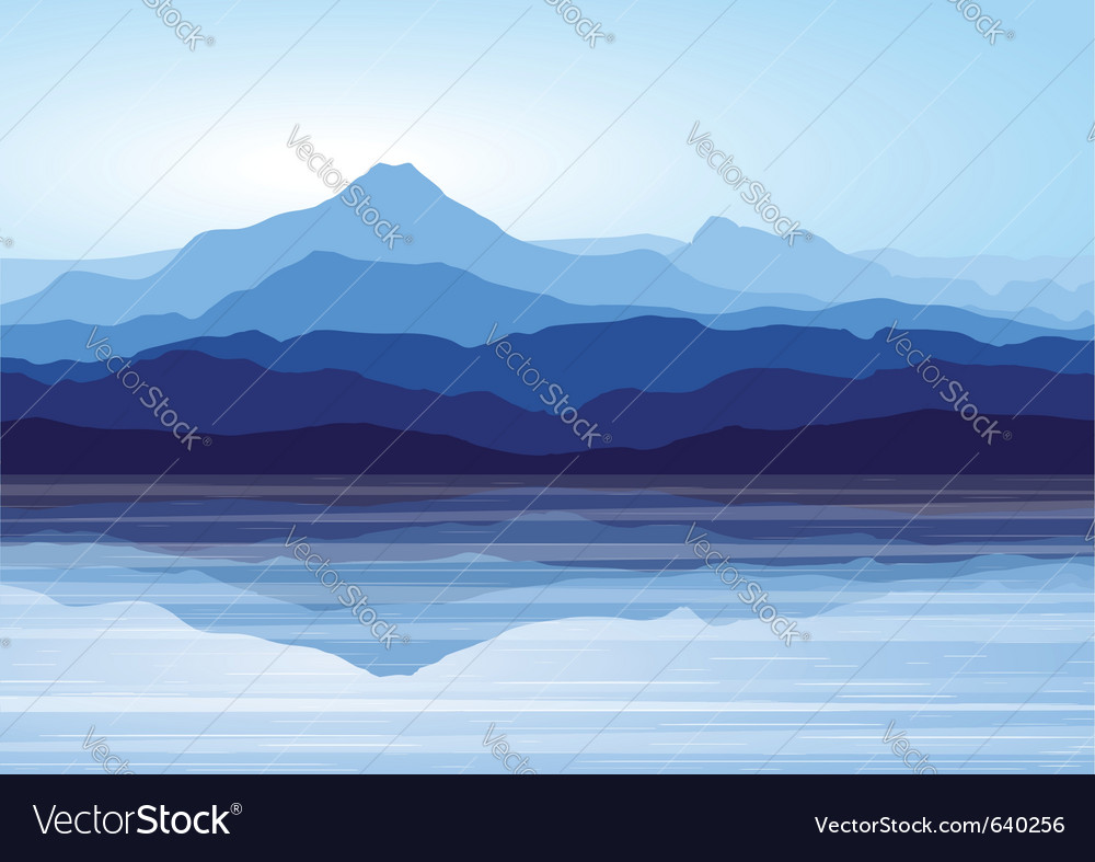Blue mountains near lake vector | Price: 1 Credit (USD $1)