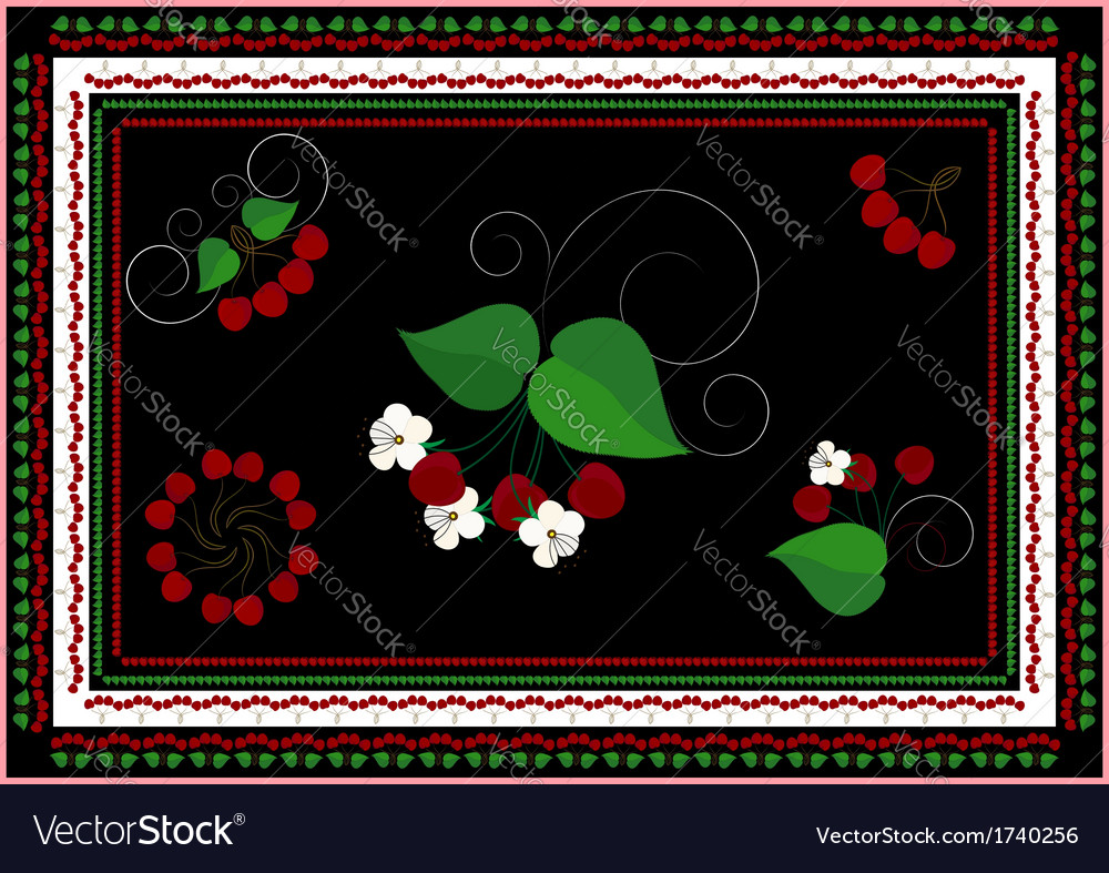 Frames and ornaments with cherry vector | Price: 1 Credit (USD $1)