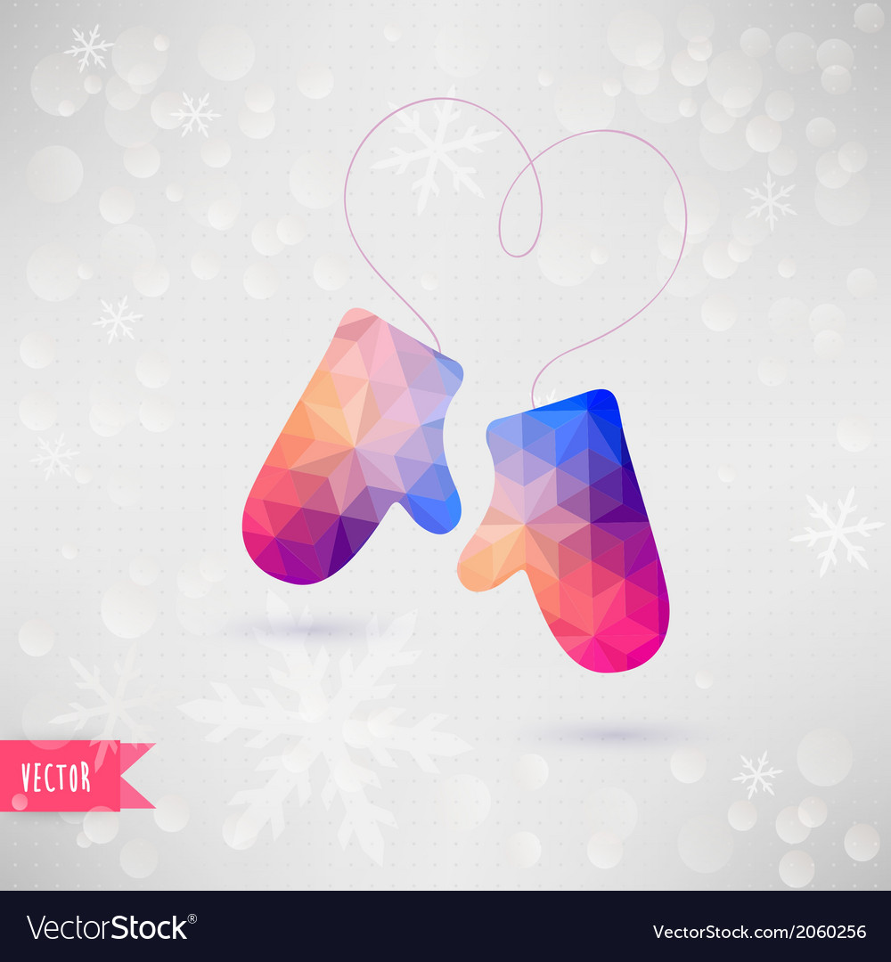 Mittens with rope in the form of heart christmas vector | Price: 1 Credit (USD $1)