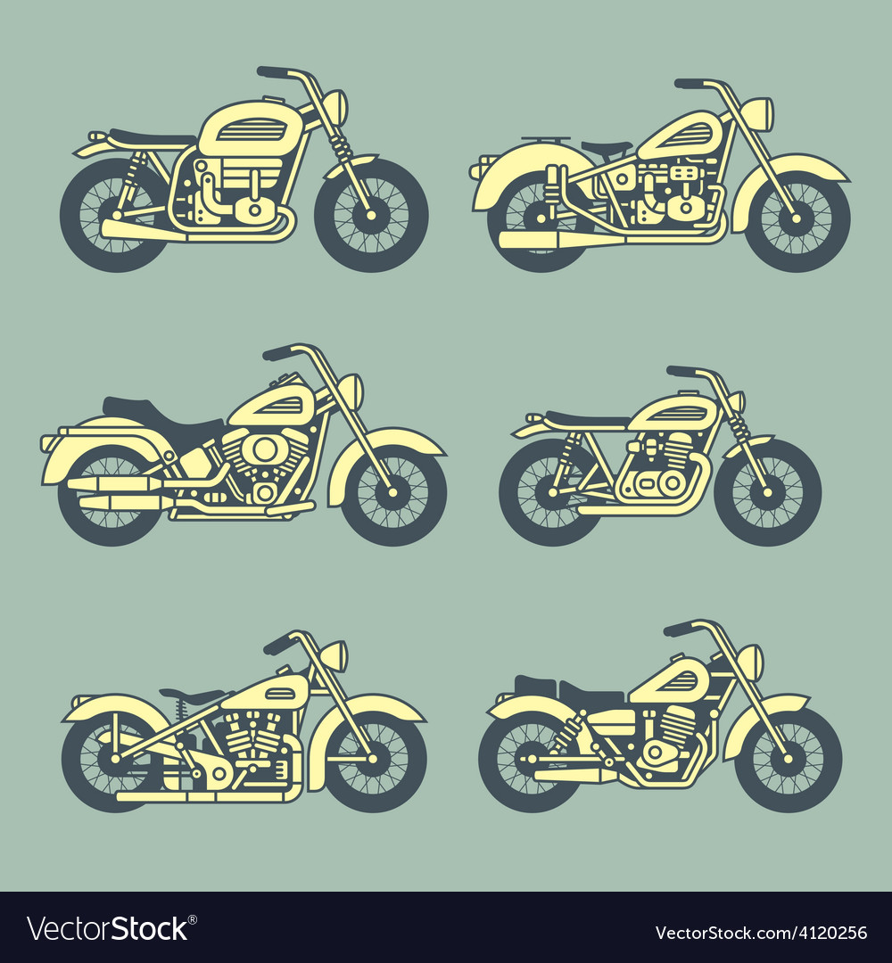 Motorcycle icons set vector | Price: 1 Credit (USD $1)