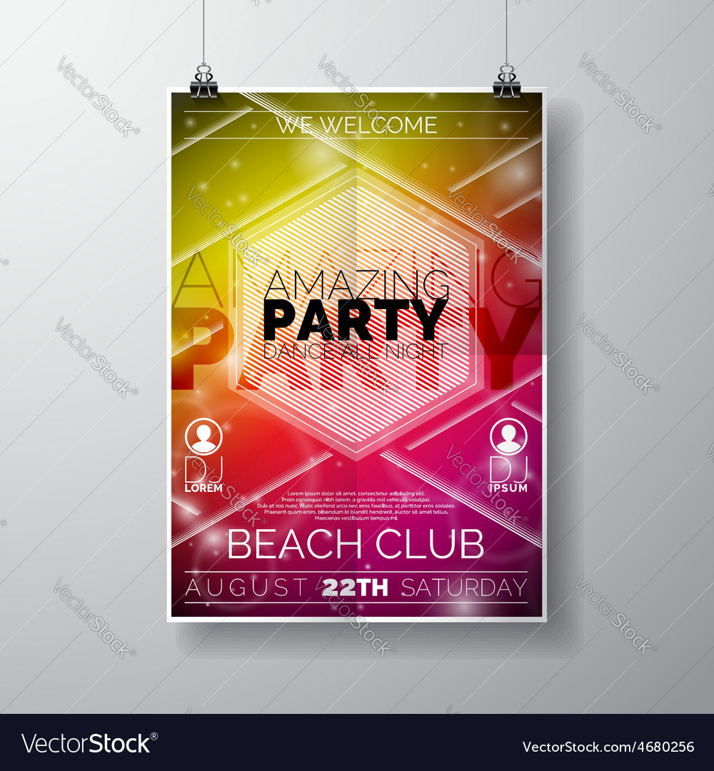 Party flyer poster template on summer beach theme vector | Price: 3 Credit (USD $3)