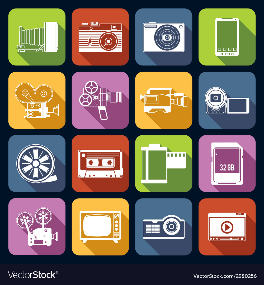 Photo video icons set vector | Price: 1 Credit (USD $1)
