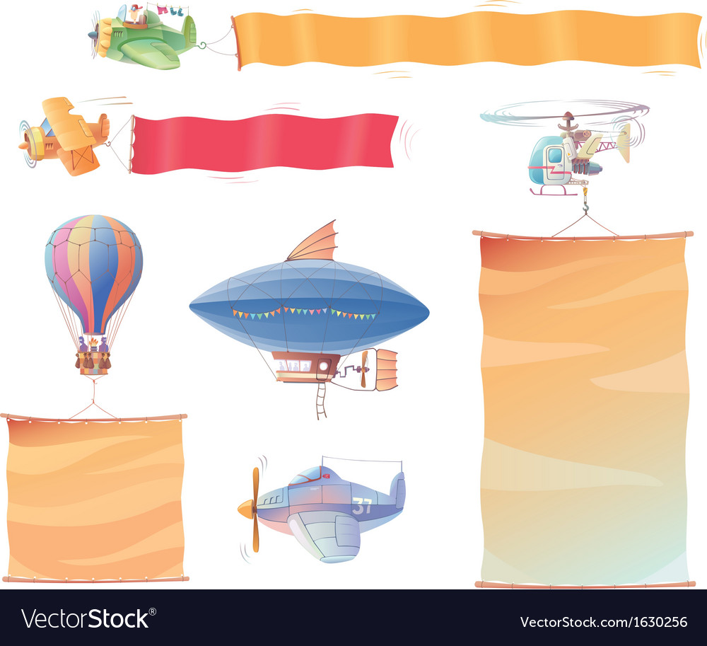 Planes with banners vector | Price: 1 Credit (USD $1)