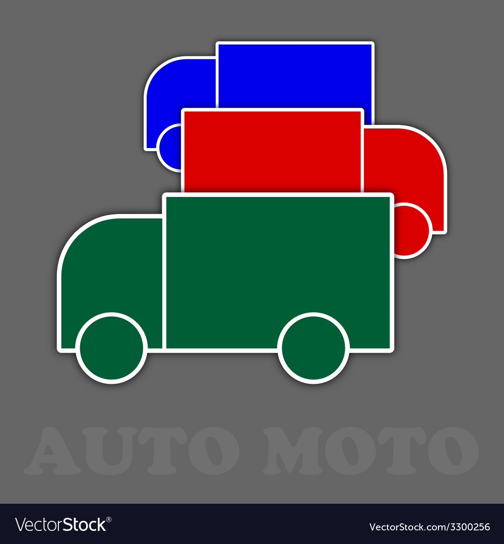 Three trucks in green red and blue vector | Price: 1 Credit (USD $1)