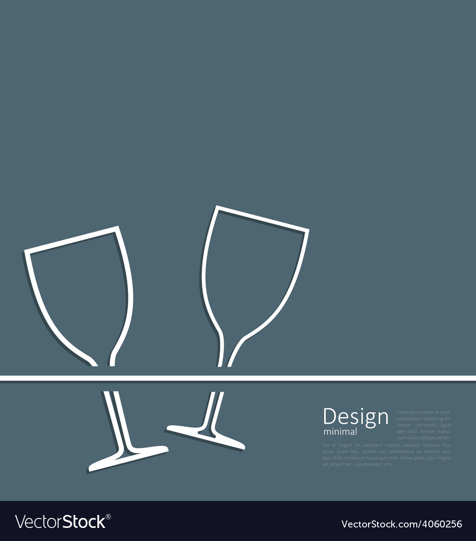 Two wineglass wedding invitation card vector | Price: 1 Credit (USD $1)