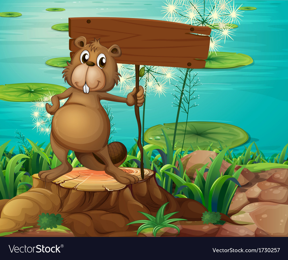 A beaver above the stump holding an empty vector   Price: 3 Credit (USD $3)