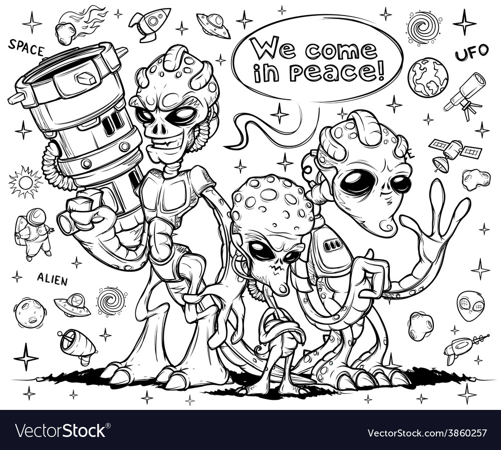 Alien invaders hand drawn vector | Price: 1 Credit (USD $1)