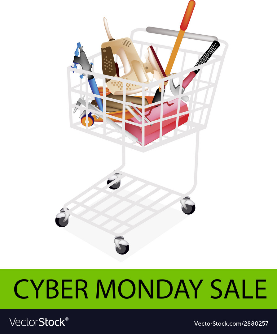 Auto repair tool kits cyber monday shopping cart vector | Price: 1 Credit (USD $1)
