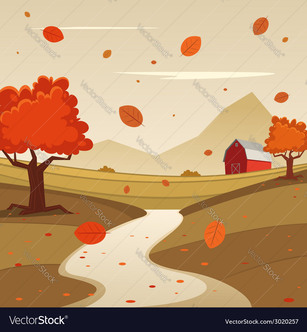 Autumn farm landscape vector | Price: 1 Credit (USD $1)