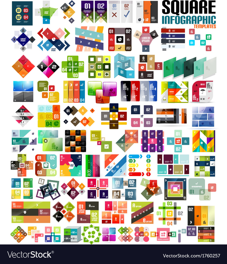 Big set of infographic modern templates - squares vector | Price: 1 Credit (USD $1)